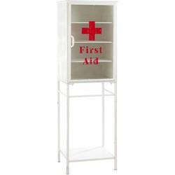 Vintage - First Aid - vitrinekast - wit / rood - metaal