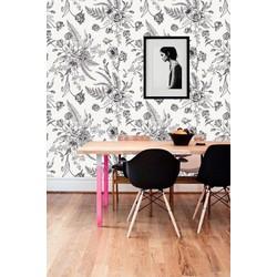 Vliesbehang bloemenprint grijs wit 60x244 cm