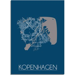 Kopenhagen Plattegrond poster Blauw - A2 + Fotolijst zwart