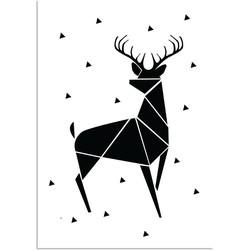 Rendier - Abstract - Kerst Poster - Tekst poster - Zwart Wit poster - A4 + Fotolijst wit