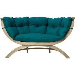Amazonas Lounge Tuinbank Siena Due - Hout - Groene Kussens