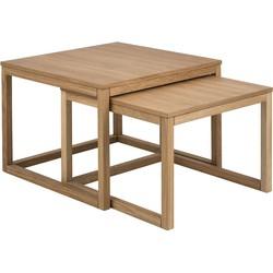 24Designs Woodie Salontafel Set - 70x70x50 - Eiken