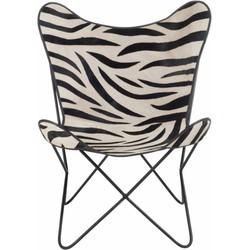 Zebra Butterfly - Fauteuil -hoes - kunstleer - zebra deco - metalen frame - 75x87x86cm