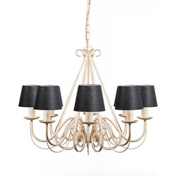 Chandelier Giuseppe 8 Antique White with Black Clamp Shades