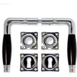 Deurklink - Deco nikkel, set (inc. sleutel rozetten)