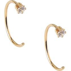 Orelia Fine Crystal Thread Thru Hoops Earrings - Goud