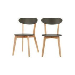 2 x Fjord Dining Chairs, Oak and Grey, Grey