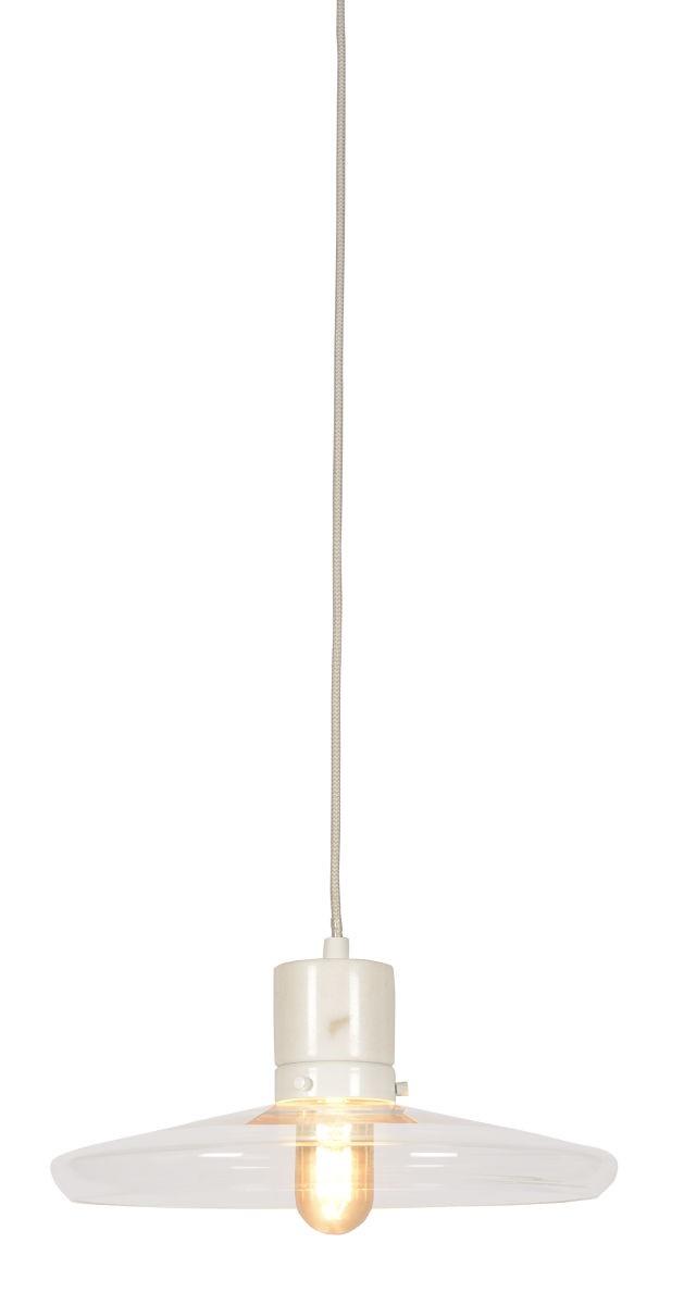 Hanglamp glas/marmer Paris, wit -