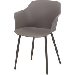 Pure Scandinavian - Eetkamerstoelen - set van 4 - zitkuip polypropyleen (PP) - Taupe - gepoedercoate metalen poten  - zelfde kleur kuip