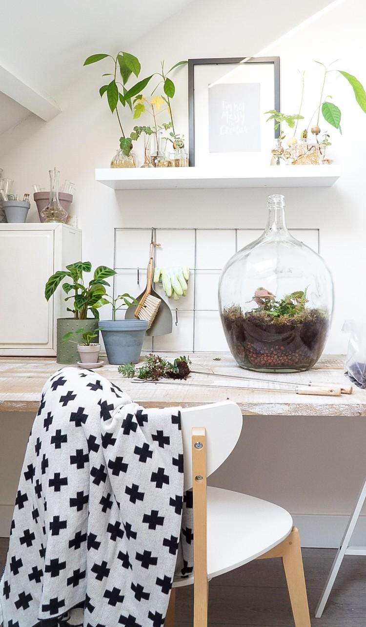 bureau met planten terrarium
