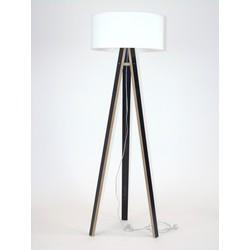 Lamp Wanda zwart multiplex met witte kap en transparante kabel