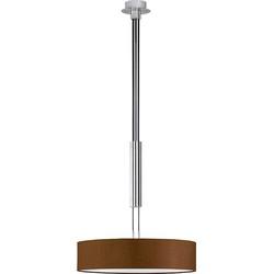 Modern Pendant Lamp Matte Nickel with Round Brown Shade - Hotel