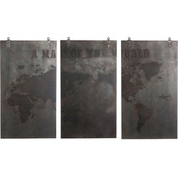 J-Line schilderij 3 delig wereld hout bruin 145 x 240 x 4