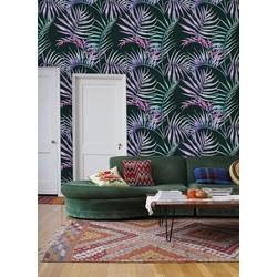 Zelfklevend behang Tropisch blad groen roze 60x244 cm