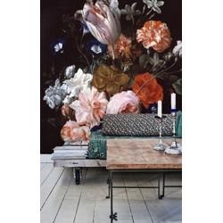Vliesbehang - 250x250cm - bloemen zwart vintage