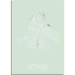 Sittard Plattegrond poster Pastel groen - A2 poster zonder fotolijst