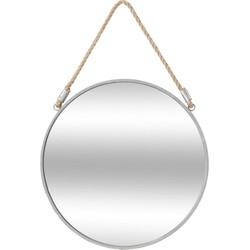 Ronde spiegel met metalen omlijsting - ophangband - Ø37cm