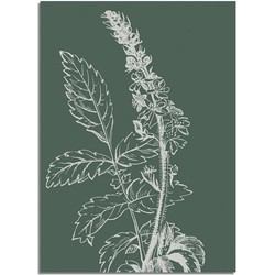 Vintage bloem blad poster Designclaud - Puur Natuur Botanical - Groen - B2 poster