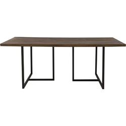 Light&Living Eettafel Chisa hout bruin-zwart 78 x 200 x 90