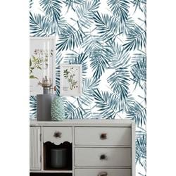 Zelfklevend behang Tropical Jungle blauw wit