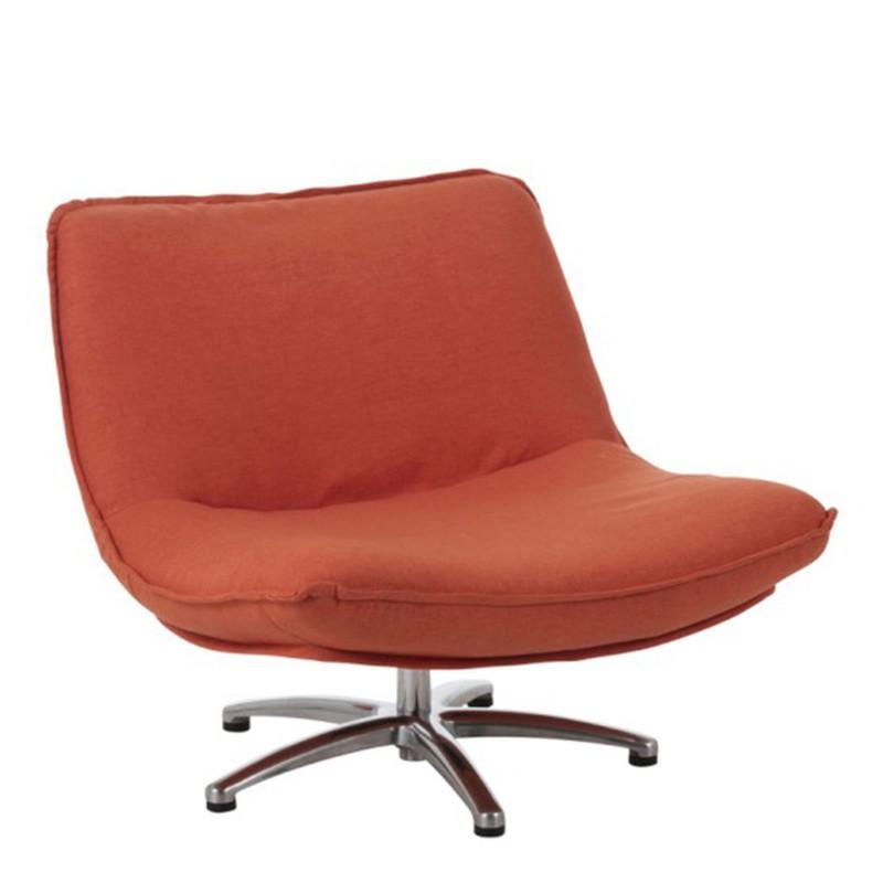 J-Line Fauteuil Draai Velvet Oranje 68 x 85 x 94 -