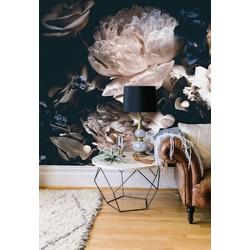 Zelfklevend behang bloemen zwart vintage 210x215