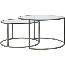Light&Living Salontafel Duarte Tin Set van 2 44 x Ø75