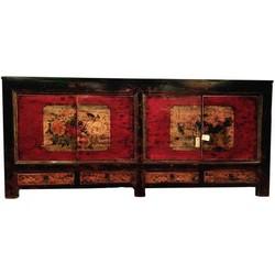 Fine Asianliving Antieke Chinese Dressoir Handgeschilderde Lotus