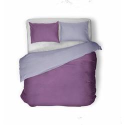 Nightsrest Dekbedovertrek Flanel TWO TONES Prune - Lavender Maat: 240x200/220cm