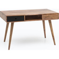24Designs Hugo Bureau Zwart 117x60x75 Cm 2-Laden - Sheesham Hout