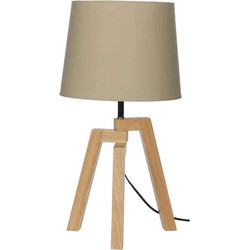 Mica Decorations montreal bureaulamp hout creme maat in cm: 30 x 30 x 57