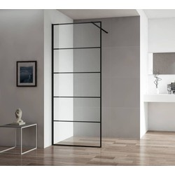 Saqu Miralo Inloopdouche met industrieel zwart frame 100x210 cm Helder Glas/Mat Zwart