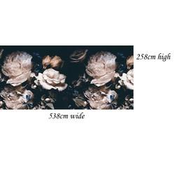 Vlies behang bloemen zwart vintage 538x258