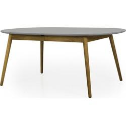 Tenzo Verlengbare Ovale Tafel Dot 180/230x105x75 - Grijs Tafelblad - Eiken Poten