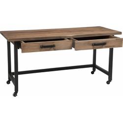 Industry - Bureau - rechthoekig - hout - metalen frame - 2 laden - op wieltjes