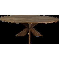 Ovale eettafel met kruispoot - 220x110 cm - vintage - teak