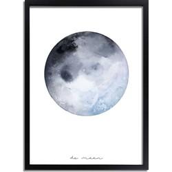 Maan Poster Grijs Blauw - A4 + Fotolijst zwart