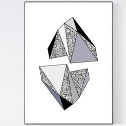 Terrazzo Poster - Geometric Shades of Grey I