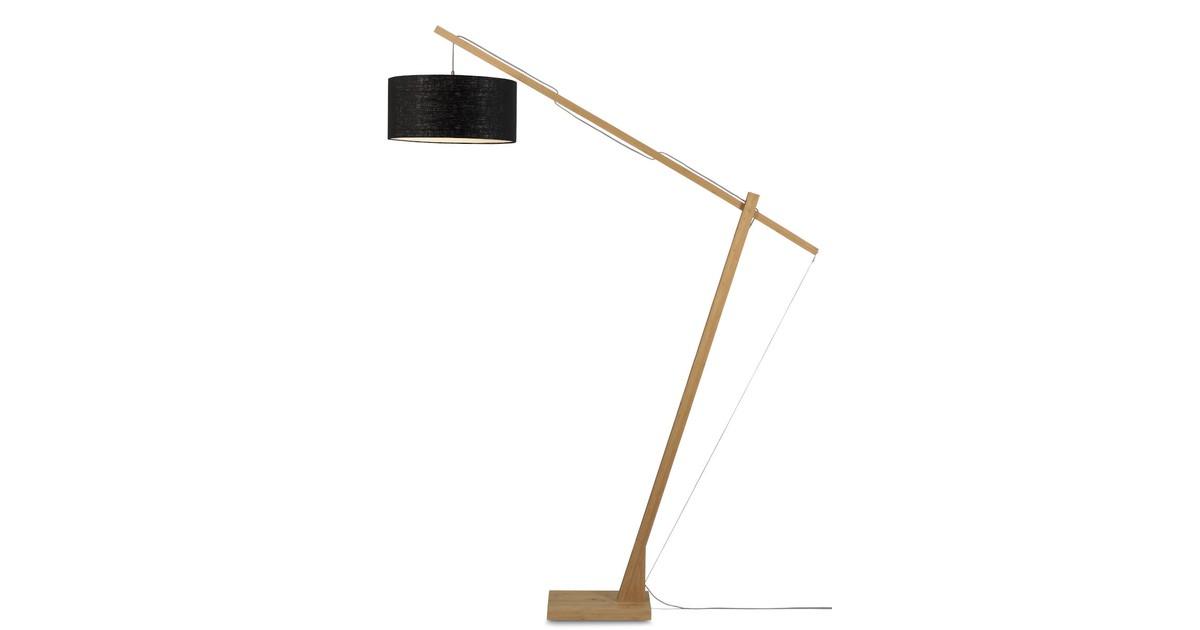 Vloerlamp Montblanc bamboe 4723, linnen zwart