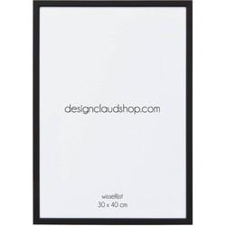 Aluminium wissellijst - Fotolijst met klein facetrandje - Mat zwart - 30x40 cm