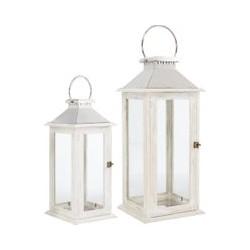 Linea White Wooden Lantern, Small, White