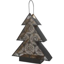 Windlicht Tree zwart/goud 34x9x40cm