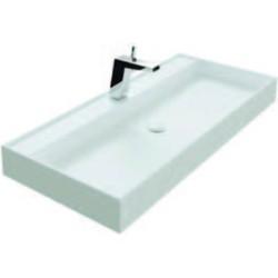 Thebalux Snow wastafel Solid Surface zonder kraangat 100,2x45x10cm Mat wit