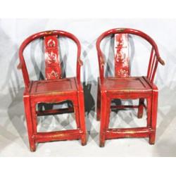 Fine Asianliving Antieke Chinese Glassy Rode Stoelen Set (1910-1920)