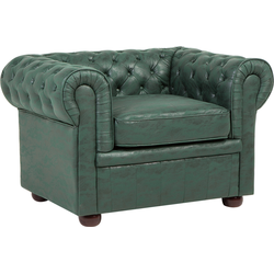 Fauteuil leather-look groen CHESTERFIELD
