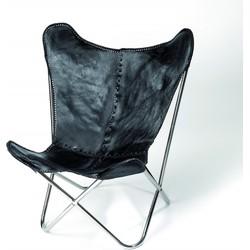Nordal Denmark fauteuil leer vlinder stoel zwart/ijzer