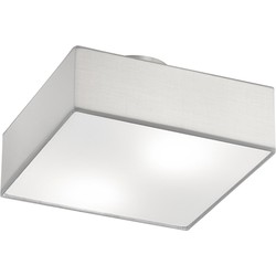 Modern Ceiling Lamp Matte Nickel with Square 30cm White Shade - Embassy