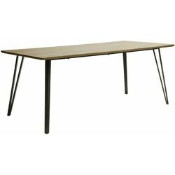V- Eettafel - rechthoekig - 190x90cm - MDF - 3D eiken bruin - V-stalen poten