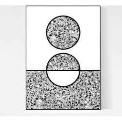 Terrazzo Poster - Sun Black and White