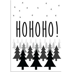 Ho ho ho - Kerst Poster - Tekst poster - Zwart Wit poster - A4 poster zonder fotolijst